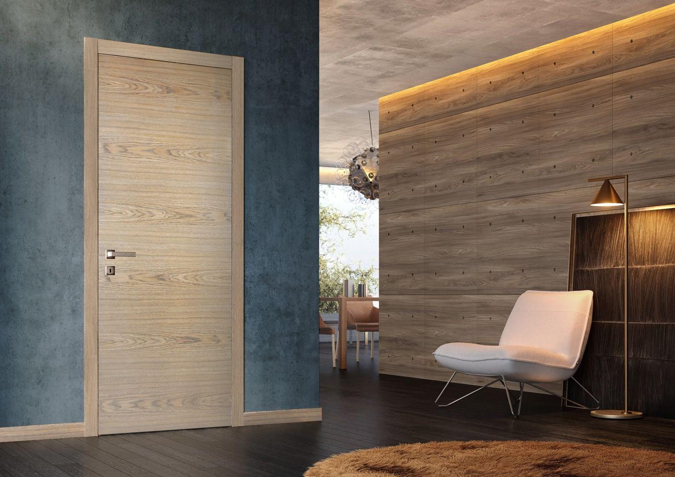 Solid Core Wood Interior Door In Living Room Model Unica Rustic Oak